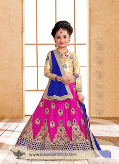 Refined Magenta Pink & Royal Blue Embroidered Kids Lehenga Choli