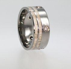 Deer Antler Titanium Wedding Ring set with 5 Diamonds - The stones are flush set in Yellow Gold via Etsy