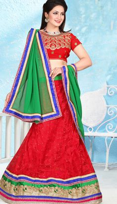 Fashionable India Red Nett Jacquard Lehenga Choli