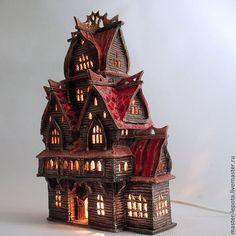 """Купить Терем-ночник """"Златогор"""" - коричневый, сказка, старинный, старина, Керамика, освещение, деревенский стиль"""