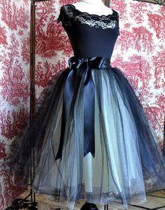 dark and light blue tulle skirt