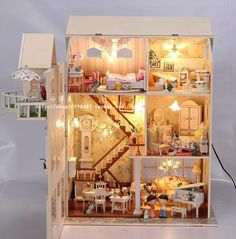 Fairy homeland DIY Wooden Dollhouse Lighting three storeyed House Gift with light-in Doll Houses from Toys & Hobbies on Aliexpress.com
