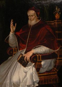 """Papa Pio V"", Bartolomeo Passerotti, 1556. Bajo el mandato de Pío V (1504-1572) , un ex monje dominico, el blanco se convirtió en el color oficial usado por el Sumo Pontífice. / ""Pope Pius V"", by Bartolomeo Passaroti. Under Pope Pius V (1504–1572), a former monk of the Dominican Order, white became the official color worn by the Pope."