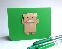 Carte ourson! Origami, Etsy, Plush, Cards, Paper, Paper Folding