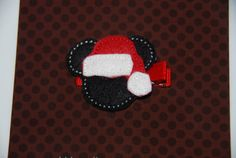 CHRISTMAS Felt Embroidered Santa Mickey Mouse by lilibirdbowtique, $4.00