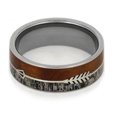 Silver Arrow Ring with Deer Antler and Ironwood Burl in a