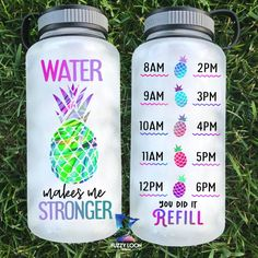 Water Makes Me Stronger Pineapple Bottle, Motivational Water Bottle, Hourly Tracker Bottle School Water Bottles, Cute Water Bottles, Water Tumbler, Tumbler Cups, Water Bottle Tracker, Water Reminder, Water Bottle Design, Custom Tumblers, Drinking Water