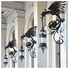 Pair of Art Nouveau Cast Iron Wall Lights Home Lighting, Lighting Design, Home Interior Design, Interior And Exterior, 3d Fantasy, Iron Art, Gothic Home Decor, Street Lamp, Gothic House