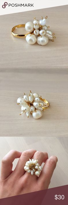 Handmade Freshwater Pearl Gold Ring Handmade by yours truly. Lustrous white freshwater pearls hand wrapped in 14k gold filled wire onto an adjustable gold tone ring. Super fun conversational piece. Ring size 7+. Anthro for exposure Anthropologie Jewelry Rings