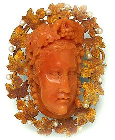 Victorian Carved Coral Cameo, Natural Pearl, and Gold Brooch.