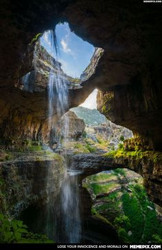 Baatara gorge waterfall in Tannourine, Batroun District, North Governorate, Lebanon was discovered in 1952 by French bio-speleologist Henri Coiffait The waterfall drops 255 meters into the Baatara Pothole, a cave of Jurassic limestone