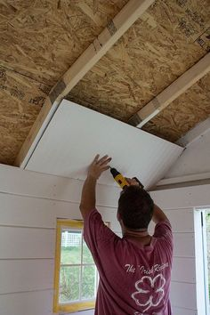 Amazing Shed Plans - Paneling a Shed Ceiling Now You Can Build ANY Shed In A Weekend Even If You've Zero Woodworking Experience! Start building amazing sheds the easier way with a collection of shed plans! Craft Shed, Diy Shed, Wood Shed Plans, Storage Shed Plans, Diy Storage, Outdoor Storage, Small Storage, Woodworking Projects Diy, Woodworking Plans