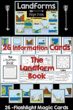 This LANDFORM MEGA PACK is full of fun and engaging activities.  The FUN starts here:  � Colorful Information cards ~ Print these on card stock and laminate them. Hang them up as you teach them, or all at once. Use only what you need, print only what you