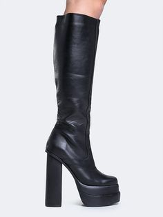 """- Brand: Jeffrey Campbell - Style: Boots - Color: Black - Material: Manmade Sole / Leather - Platform Height: 3"""" - Heel Height: 4.5"""" - Buckled ankle-strap"""