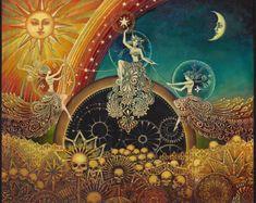 Three Fates Moirai Goddess Art Original Oil Painting Psychedelic Art from EmilyBalivet on Etsy Fantasy Kunst, Fantasy Art, Dark Fantasy, Art Visionnaire, Frida Art, Arte Obscura, Goddess Art, Celtic Goddess, Visionary Art