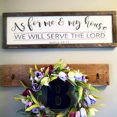 As for me and my house we will serve the Lord Approximately 12x38 Thank you for shopping from Karis Wonderfully Made! I hope you enjoy the wood sign, that it uplifts you and is inspirational for you. I sure do enjoy making them! This sign is a great addition to your home decor.