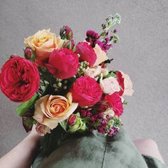 SPRING WEDDING BOUQUET F l o r a l S t y l i s t ( Before these gorgeous roses really opened up, the next day they were all fluff and frills. Still gorgeous though, and that peach 🍑 🥰 Wedding Bouquets, Wedding Flowers, Spring Wedding, Floral Wreath, Roses, Peach, Wreaths, Floral Crown, Wedding Brooch Bouquets