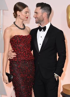 Behati Prinsloo and Adam Levine at the 87th Annual Academy Awards on February 22, 2015.
