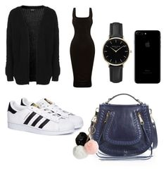 """basic black outfit"" by mirela-catarina on Polyvore featuring moda, Rebecca Minkoff, Topshop, adidas, GUESS e ROSEFIELD"