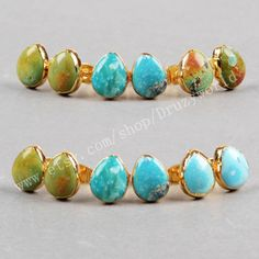 3&5Pcs Lead Free Gold Plated Teardrop Natural Turquoise Studs Earring Handmade Real Turquoise Gemstone Post Earrings Fashion Jewelry G0433 by Druzyworld on Etsy