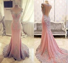 Elegant Pink See Through Lace Rhinestone Gorgeous Wedding Prom Dresses, BG0021 The dress is fully lined, 4 bones in the bodice, chest pad in the bust, lace up back or zipper back are all available, to