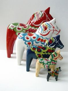 The Dalecarlian horse or Dala horse is a traditional carved, painted wooden horse statuette originating in Swedish province Dalarna. In the old days the Dala horse was mostly used as a toy for children; in modern times it has become a symbol of Dalarna, as well as Sweden in general.