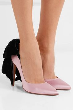 Alexandre Vauthier | Bowdown bow-embellished velvet and satin pumps  | NET-A-PORTER.COM