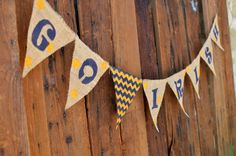GO IRISH Burlap Banner for Notre Dame University by LylaDee, $15.00