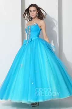 Romantic Ball Gown Strapless Floor Length Tulle Capri Quinceanera Dress COLA13001Cocomelody#quinceanera dress#quinceanera#dresses#