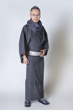お洒落なファッション、リアルクローズの着物ブランド awai 男の着物/コーディネート   ウール着物にストールを