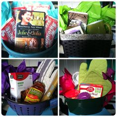 Bridal shower game prizes! A change from candles and what not. Cute! movie night basket, coffee/tea basket, dinner basket, desert basket.