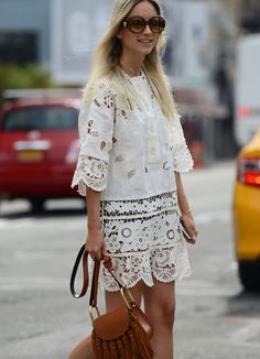 Charlotte Groeneveld carrying the Chloé Hudson bag on the streets in New York. Plus, she looks gorgeous in white lace.