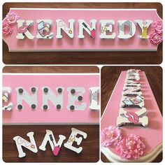 Name Puzzle, Girly, Unique Jewelry, Handmade Gifts, Awesome, Frame, Flowers, Pink, Etsy