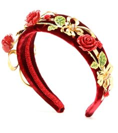 Dolce & Gabbana - Embellished velvet hairband - Dolce & Gabbana opts for a classic, opulent look with this embellished headband. The rich red velvet base is adorned with crystal-embellished gold-tone bows and delicate roses. It promises to instantly lift your favourite LBD. seen @ www.mytheresa.com