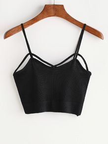 Black Criss Cross Front Cami Top Ropa Tmblr 239226b5a