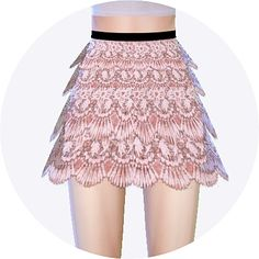 Lace tiered skirt at Marigold via Sims 4 Updates