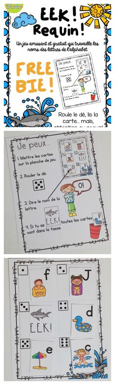 A fun, FREE French summer-themed game. Get your students practicing their letter names & sounds. Perfect for small group or centres, all you need to add is a die! French Teaching Resources, Teaching Time, Teaching French, Teaching Ideas, Teaching Spanish, Spanish Lessons For Kids, French Lessons, Word Work Activities, Kindergarten Activities
