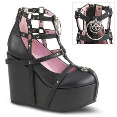 Pentagram Charm Poison Black Cage Wedge Gothic Shoe - New at GothicPlus.com - your source for gothic clothing jewelry shoes boots and home decor. #gothic #fashion #steampunk