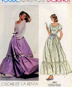 70s Romantic Oscar De La Renta Peasant Blouse Dirndl Skirt Pattern Vogue American Designer 1667 Bohemian  Feminine Top and Full  Maxi Length Tiered Skirt  Day or Evening Bust 31.5 Vintage Sewing Pattern FACTORY FOLDED
