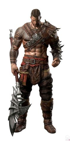 m Barbarian Lt Armor Great Axe Bramgster Horrothon Notorious Berserker warrior who uses his strength to overpower his foes Fantasy Male, Fantasy Armor, Dark Fantasy, Fantasy Character Design, Character Concept, Character Art, Concept Art, Dungeons And Dragons Characters, Dnd Characters