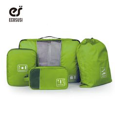 Ecosusi新しいトラベルアクセサリー収納袋用服靴エレクトロニクストイレタリーオーガナイザー4ピース/セット旅行バッグスーツケース