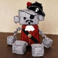 Pirate Robot Wool Felt Plush with Vintage Button by GinnyPenny