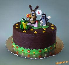 Krteček s kamarády Baby Cakes, Fondant, Cake Decorating, Birthday Cake, Food, 4th Birthday, Birthday Cakes, Birthday Cake Toppers, Pies