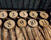 12 Rustic Table Numbers - Log Slice Table Numbers  - Wood table numbers - rustic wedding table numbers - country rustic wedding table number