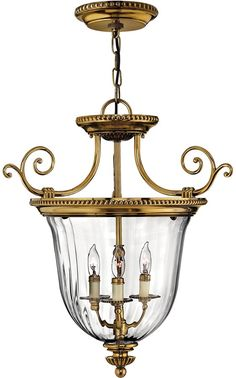 Hinkley Cambridge Hand Made Small 3 Light Solid Brass Lantern