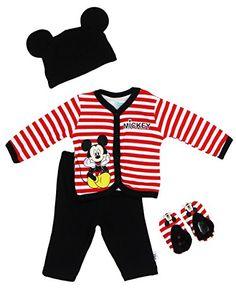 9f5edfdfd Amazon.com: Disney Newborn Boys Mickey Mouse Striped 4 Piece Set Red/Black  0-3M: Clothing