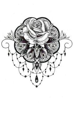 Rosa Tattoo, 1 Tattoo, Sternum Tattoo, Lace Tattoo, Tattoo Drawings, Neue Tattoos, Maori Tattoos, Body Art Tattoos, Sleeve Tattoos