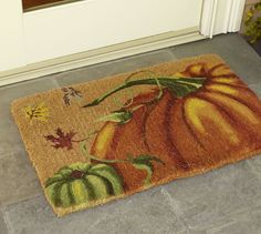 Painted Pumpkin Doormat | Pottery Barn