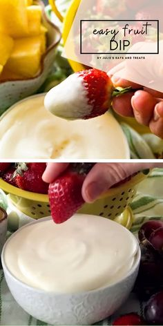 Only three ingredients in this delicious and easy fruit dip perfect for dipping your favorite fruit! This cream cheese fruit dip will be a hit! Fruit Smoothie Recipes, Fruit Recipes, Appetizer Recipes, Snack Recipes, Dessert Recipes, Appetizers, Fruit Dishes, Fruit Snacks, Fruit Fruit