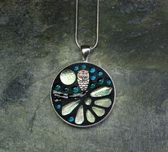 'Owl Moon' - Glow In The Dark- Glass Mosaic Pendant £18.50